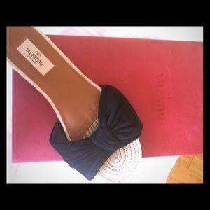 Valentino black suede raffia sandals